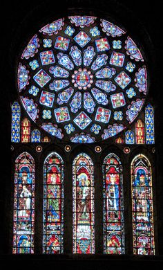 Chartres Cathedral is famous for its stain glass windows such as this window, the Chartres Rose Window. Stained Glass Church, Stained Glass Art, Stained Glass Windows, Mosaic Glass, L'art Du Vitrail, Wine Bottle Wall, Broken Glass Art, Rose Window, Church Windows