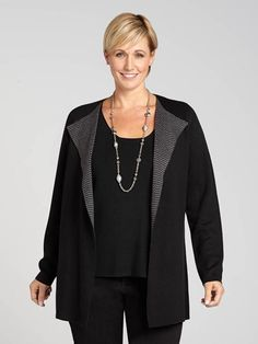 Laura Plus: for women size 14 . Coveting some cozy and chic style? This cardigan is designed with you in mind! Featuring chevron detailing along the open front, it's the kind of casual piece you can dress up for work, too....5030339-0205