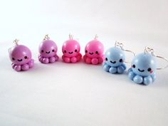 Octopus Kawaii Polymer Clay Earrings by DoodieBear on Etsy, $10.00