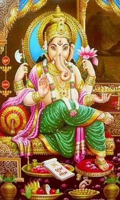 Vinayaka God Ganesha Photos for Bhagwan Ganesha Home Arti. Hindu's Firstmost Worshiped God Ganesha Deva Pictures With Elephant Head Over His Head and Lotus in His Hand. Ganesh Ji Images, Spiritual Wallpaper, Durga Ji, Shree Ganesh, God Pictures, Lord Ganesha, Hindu Art, Gods And Goddesses, Occult