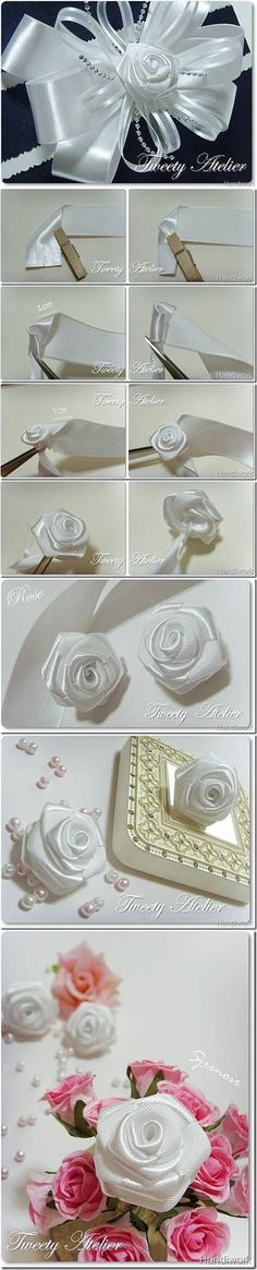 DIY Rose of Satin Ribbon                                                                                                                                                     More