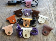 Cord holder cord organizer earbud holder leather cable holder cable cord keeper earbud organizer leather earphone organizer headphone holder