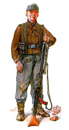 MG-42 machine gunner with his toolbox attached to the belt initial model.
