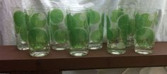 Vintage Fred Press Lime Slice Glass Set Of 8 Bubble raised glass design in Pottery & Glass, Glass, Glassware | eBay