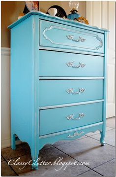 TIFFANY BLUE Dresser Makeover: used Krylon Ocean Breeze spray paint and Folk Art Metallic Pearl (highlight details). Minwax Polycrylic in Satin to finish. Did this with my daughter's desk shelf. crafty,Decor / Home Imp Tiffany Blue, Azul Tiffany, Spray Paint Furniture, Furniture Makeover, Painted Furniture, Refurbished Furniture, Furniture Update, Colorful Furniture, Cool Furniture