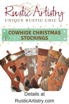 Christmas stockings made to last a lifetime. They are handcrafted from extra thick leather with a cowhide insert design and decorative curlicue stitching. Cowboy Christmas, Primitive Christmas, Country Christmas, Christmas Snowman, Primitive Fall, Primitive Snowmen, Primitive Crafts, Christmas Trees, Christmas Stockings With Names