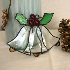 Christmas bell decoration, Stained glass ornament, 3 bevel bells, Holly berries.