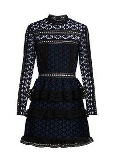 High-neck star-lace tiered mini dress   Self-portrait   MATCHESFASHION.COM UK