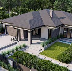 Beautiful House Plans, Beautiful Homes, Bungalow, Modern House Design, Modern Interior, Sidewalk, Villa, Patio, Outdoor Decor