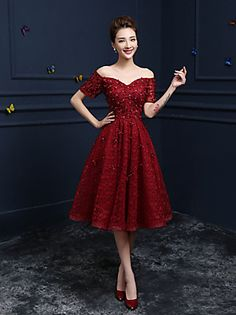 Lace Cocktail Dress Burgundy Flower Beading Prom Dress Off The Shoulder Sweetheart Short Sleeve A Line Knee Length Party Dress wedding guest dress Prom Party Dresses, Formal Evening Dresses, Elegant Dresses, Pretty Dresses, Evening Gowns, Beautiful Dresses, Dress Party, Gorgeous Dress, Occasion Dresses