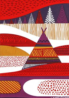 Illustration of Inari, Finland by Sanna Annukka Design Textile, Fabric Design, Pattern Design, Print Design, Textures Patterns, Print Patterns, Graphic Design Illustration, Illustration Art, Scandinavian Art