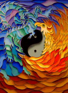 The combination of phoenix and dragon is similar to that of a yin/yang, symbolizing the union of opposites. Yin Yang, Namaste, Phoenix Dragon, Water Dragon, Before Us, Mosaic Art, Feng Shui, Rainbow Colors, Board Games