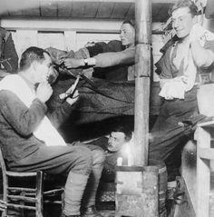 A group of officers of the Battalion, East Yorkshire Regiment wash, shave and dress in their dugout near Roclincourt, 9 January Ww1 History, Kingston Upon Hull, East Yorkshire, Phd Student, Lest We Forget, British Army, World War I, Thing 1 Thing 2, Wwi