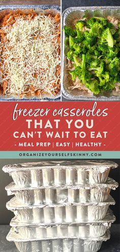 Easy Make Ahead Freezer Casseroles Recipe Freezer Friendly Meals, Make Ahead Freezer Meals, Healthy Freezer Meals, Freezer Cooking, Easy Meals, Freezer Recipes, Cooking Tips, Quick Dinner Meals, Weight Watchers Freezer Meals