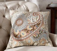 """Serena Embroidered Paisley Applicque Pillow Cover, 20"""", Pottery Barn"""