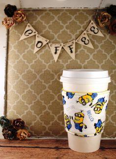 Minions Coffee Cozy - Coffee Cozy - Fabric Coffee Cozy - Tea Cozy by SewLoveToSew on Etsy
