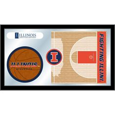 Illinois Fighting Illini Basketball Court Mirror Wall Art
