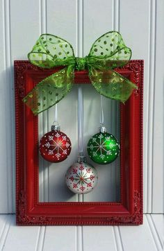 Christmas decoration ideas: Let yourself be inspired! Christmas decoration ideas christmas picture frame wreath by oddsnendsbyaly on etsy by jacquelyn diy christmas frames, GZYAVBR Picture Frame Wreath, Christmas Picture Frames, Picture Frame Crafts, Beautiful Christmas Pictures, Diy Picture Frames On The Wall, Picture Frame Christmas Ornaments, Painted Picture Frames, Picture Frame Decorating Ideas, Xmas Frames
