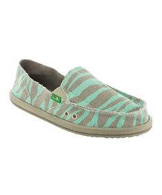 Another great find on #zulily! Aqua Zebra I'm Game Slip-On Shoe - Women by Sanuk #zulilyfinds
