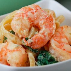 Servings: 4INGREDIENTS1 pound shrimp, peeled and deveined1 tablespoon olive oil1 tablespoon butter2 cloves garlic, minced1 teaspoon salt½ teaspoon pepper1½ cup milk1½ cups chicken broth8 ounces fettuccine pasta4 cups spinach1 teaspoon salt½ teaspoon pepper½ teaspoon Italian seasoning¼ cup parmesan cheese, gratedPREPARATION1. In a heated pot, melt butter and olive oil. Add garlic and shrimp, seasoning with salt and pepper. Cook until shrimp is pink, then put aside.2. In the same pot, add…