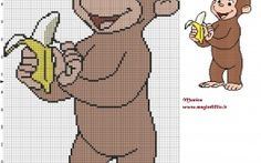George avec banane (Curious George) grille point de croix