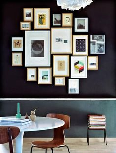 Love the pictures against the dark wall. (For wall between dining and living rooms)
