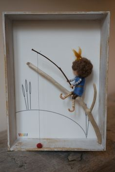 Needle felted figurines, fairies, in 3D frame - FISHERMAN
