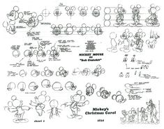 Production Art - 'Mickey's Christmas Carol' A collection of model sheets, production art, thumbnail sketches, and concept art from Disney's 'Mickey's Christmas Carol'. Christmas Carol, Mickey Christmas, Disney Sketches, Disney Drawings, Cartoon Drawings, Drawing Disney, Character Model Sheet, Character Drawing, 2d Character