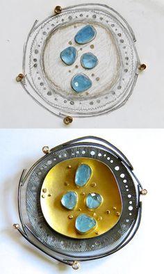 Sydney Lynch: sketch to finished piece brooch - gold and aquamarine gems art nouveau very pretty