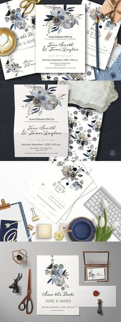 Grey Wedding Invitation Set. Wedding Card Templates
