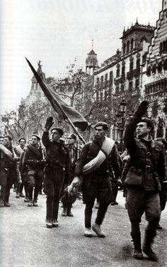 Spanish Civil War. Franco's troops entering republican Barcelona