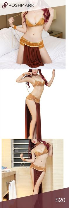 Star Wars Princess Leia slave cosplay costume Brand new includes bra bottoms skirt and choker and wrist chain starwars Other
