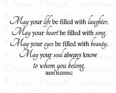 """Baby Wall Decals - Irish Blessing Vinyl Wall Quote - May Your Life Be Filled With Laughter - Baby Nursery 22""""h x 36""""w QT0156. $45.00, via Etsy."""