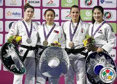 Sumiya Dorjsuren (MGL), Helene Receveaux (FRA), Hedvig Karakas (HUN), JanDi Kim (KOR) - IJF World Masters Guadalajara (2016, MEX) - © Gabriela Sabau, IJF