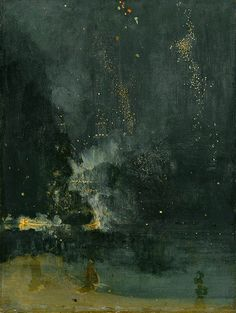 """James McNeil - Nocturne in Schwarz und Gold. Die fallende Rakete. 1875      """"[It] was more than a pot of paint flung in the face of an unr..."""