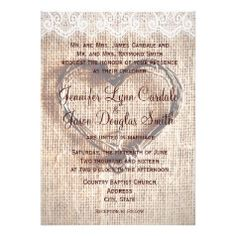 Rustic Burlap Lace Twine Heart Wedding Invitations