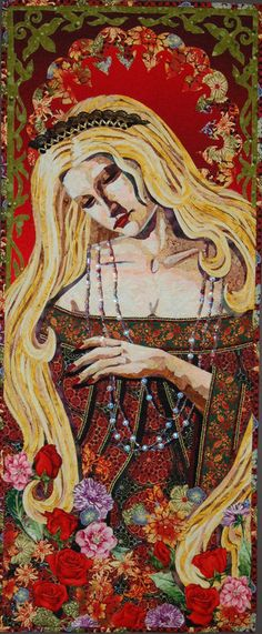 The gift, embellished art quilt by Donna Cherry