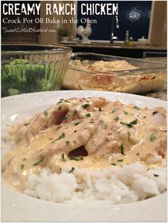 CREAMY RANCH CHICKEN - Make in the CROCK POT or  OVEN  |  SweetLittleBluebird.com