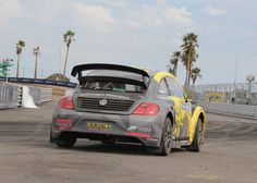 Athlete Tanner Faust's Volkswagen VW Beetle at the 2015 Los Angles edition of the  Red Bull Global Rally Cross