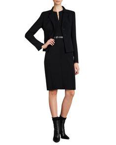 Black Short Evening Jacket, Zip-Front Double-Face Dress & Leather Belt by Akris at Neiman Marcus $3000, $1850
