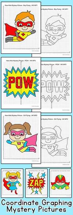 Practice plotting ordered pairs with these fun superhero kids coordinate graphing mystery pictures! Perfect for math centers, early finishers or homework.