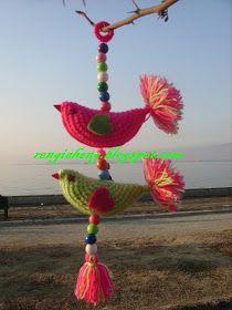 Rengiaheng: Bir Ağaç Dolusu Bereket Kuşu :) Scrap Yarn Crochet, Crochet Birds, Crochet Faces, Crochet Mandala, Crochet Art, Crochet Home, Crochet Crafts, Crochet Projects, Crochet Designs