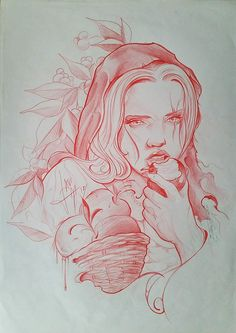 #dibujo #drawing #mujer #woman #manzana #apple #hojas