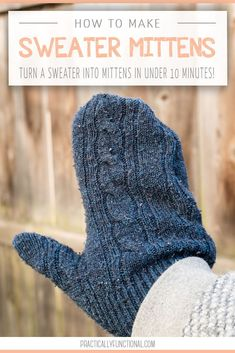 Need a quick winter craft? I'm sharing the absolute easiest way to make sweater mittens! Turn an old sweater into mittens in less than ten minutes with this tutorial! Easy Sewing Projects, Sewing Projects For Beginners, Knitting For Beginners, Sewing Hacks, Diy Projects, Sewing Tips, Sewing Lessons, Knitting Ideas, Sewing Crafts