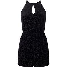 Miss Selfridge Petite Velvet Playsuit, Black ($39) ❤ liked on Polyvore featuring jumpsuits, rompers, petite, floral romper, short sleeve rompers, halter romper, playsuit romper and floral print romper