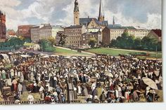 19379 tolle AK Stettin um 1910 Marktplatz Manzelbrunnen Jacobikirche Rathaus