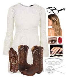 """""""Brianna's outfit (a little upgraded)"""" by lloveblue ❤ liked on Polyvore featuring Topshop, Uniqlo, Tony Lama, Ray-Ban, Lelet NY, Kenneth Jay Lane, Bling Jewelry, women's clothing, women and female"""