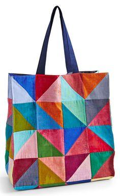 In Color Order: Scrap Lab: Half-Square Triangle Tote Bag