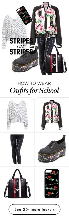 """""""Untitled #112"""" by sneakeraddicted on Polyvore featuring Wildfox, Dolce&Gabbana, R13, stripesonstripes and PatternChallenge"""