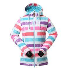Gsou Snow Ladies Waterproof Ski Jacket Womens Stripe Ski Coats Snowboard  Jacket Winter Coat Windproof 30 632118ca4
